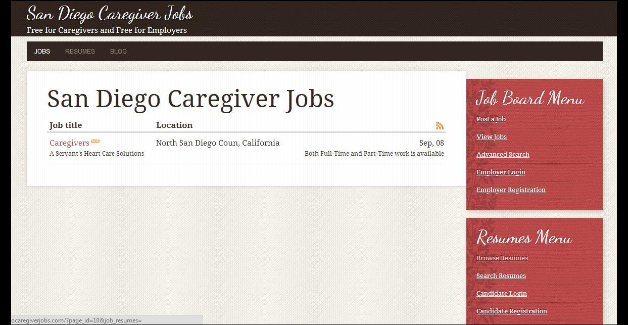 San Diego Caregiver Jobs Board