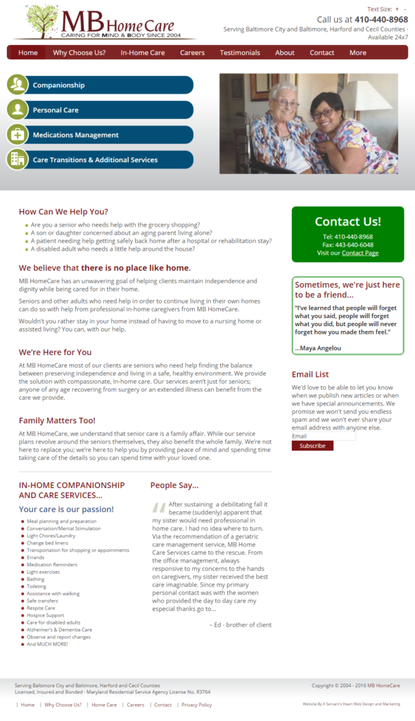 MB HomeCare - Home Page - Full Page - Screen Shot