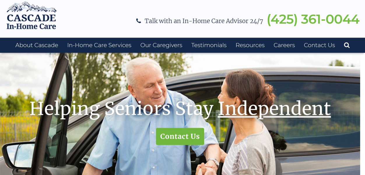 Cascade In-Home Care homepage screenshot above the fold content