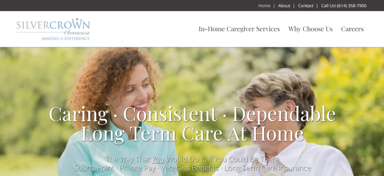 silver crown homecare home page screenshot above the fold