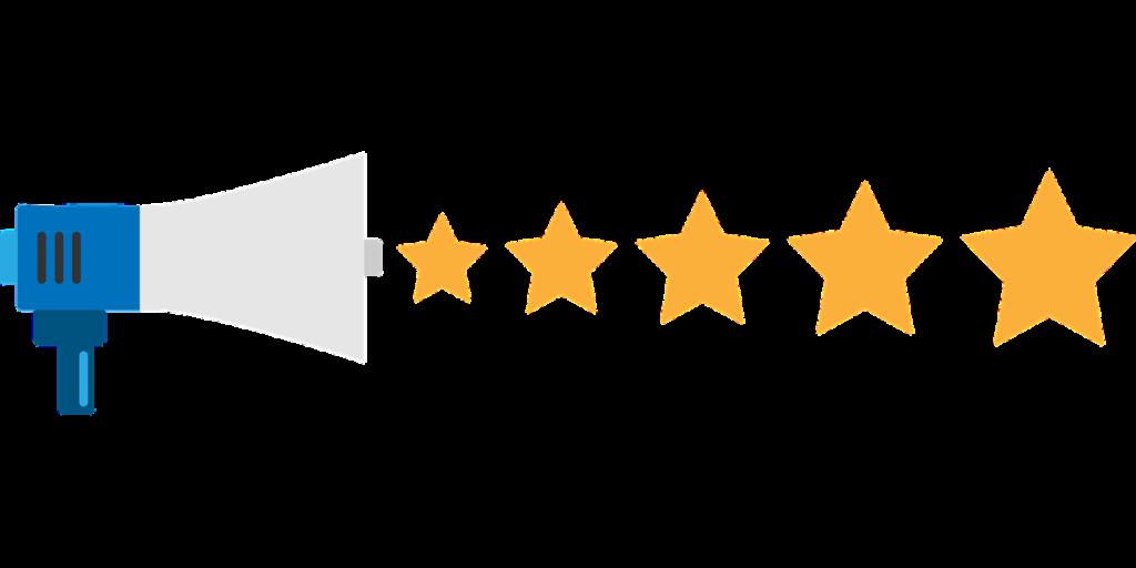 megaphone with 5 stars