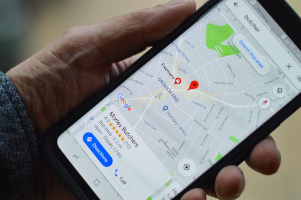 Google My Business listing on mobile phone